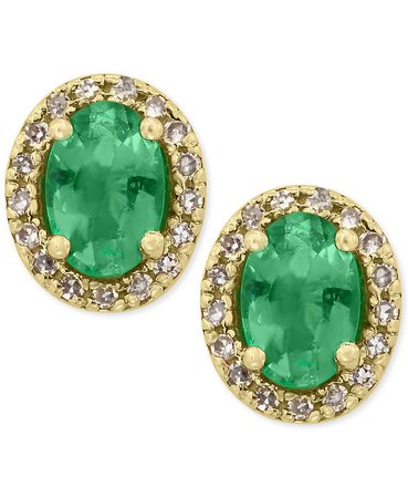 EFFY® 14k Gold Emerald and Diamond Stud Earrings