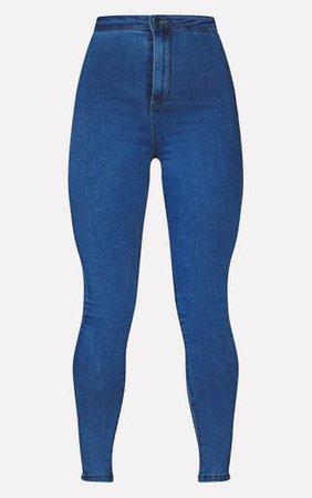 Prettylittlething Mid Blue Disco Skinny Jean | PrettyLittleThing