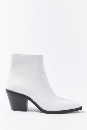 Faux Leather Block Heel Booties | Forever 21