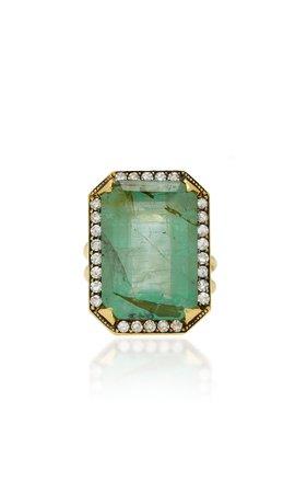 Sylva & Cie 18K Gold, Emerald And Diamond Ring Size: 6.75