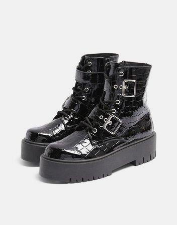 Topshop crocodile chunky buckle boots in black | ASOS