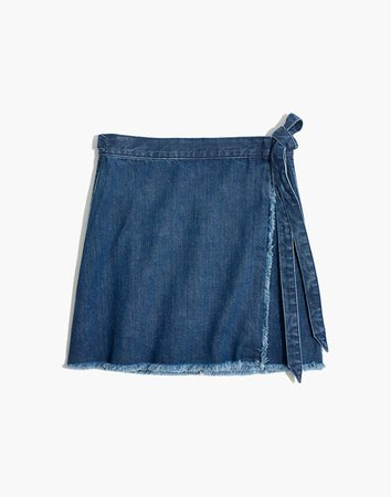 Raw-Hem Mini Wrap Skirt in Cardiff Wash Blue