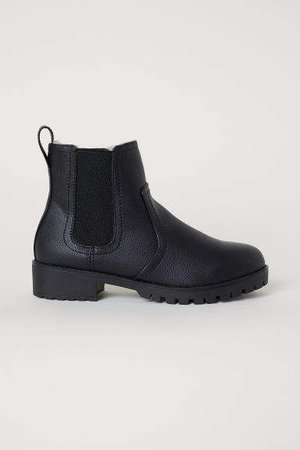 Warm-lined Chelsea Boots - Black