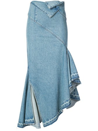 Monse fold-waist Trumpet Denim Skirt - Farfetch