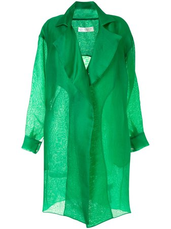 Green The 2Nd Skin Co. organza trench coat - Farfetch