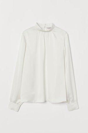 Satin Blouse - Cream - Ladies | H&M US