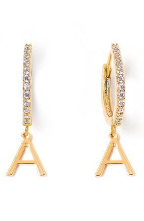 Tess + Tricia Initial Huggie Hoop Earrings | Nordstrom