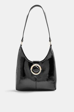 AMBER Black Patent Shoulder Bag | Topshop