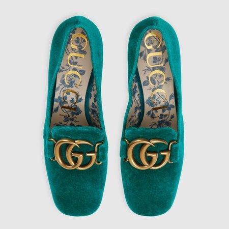 Velvet mid-heel pump with Double G - Gucci Women's Pumps 526465K4D004430