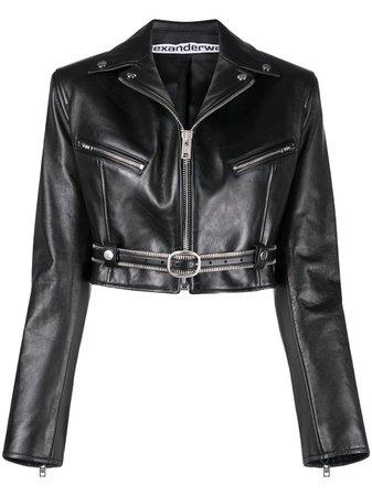 Alexander Wang Cropped Leather Biker Jacket - Farfetch