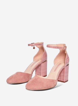 Pink Block Heel Court Shoes | Dorothy Perkins