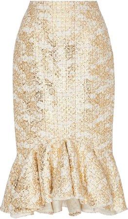 Rodarte Ruffle Hem Metallic Tweed Pencil Skirt Size: 0