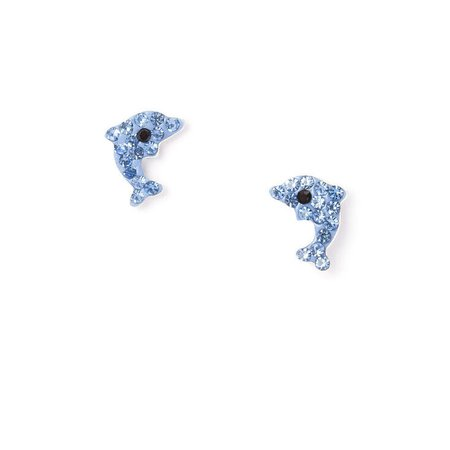 Sterling Silver Crystal Dolphin Stud Earrings | Claire's US