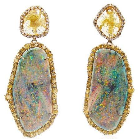 KIMBERLY MCCDONALD 18kt White Gold Opal Diamond Drop Earrings