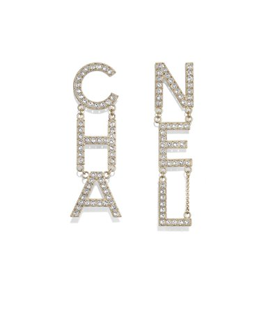 Earrings, metal & strass, gold & crystal - CHANEL