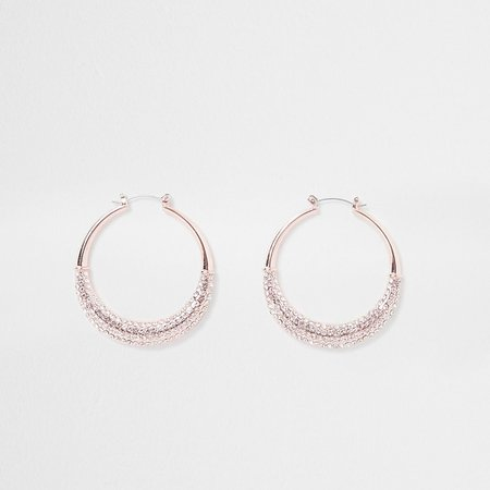 Rose gold paved sparkle hoop earrings   River Island