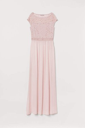 Lace-detail Maxi Dress - Pink