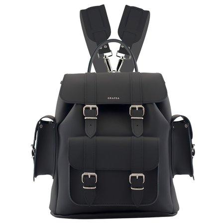 HARI II BLACK - Leather Backpack