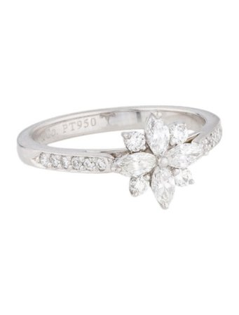 Tiffany & Co. Platinum Diamond Flower Ring - Rings - TIF136151 | The RealReal