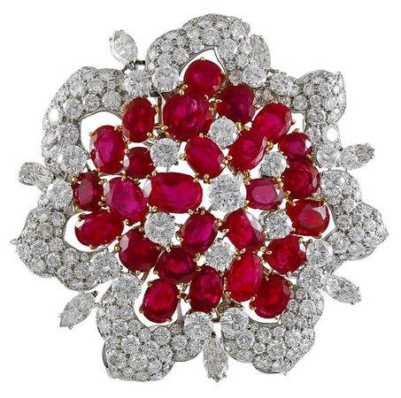 Bulgari Diamond and Burma Rubies Brooch