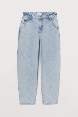 Ankle-length Twill Pants - Blue