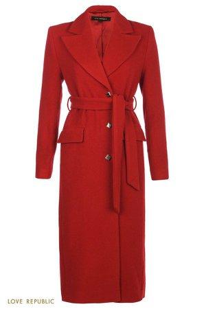 Красное приталенное пальто с широкими лацканами 0359526114-70 - купить в интернет-магазине LOVE REPUBLIC по цене: 9 749 руб