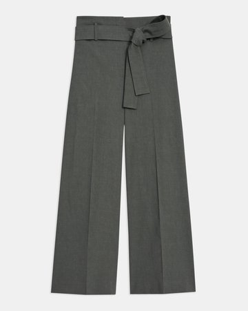 Good Linen Belted Cropped Pant | Theory