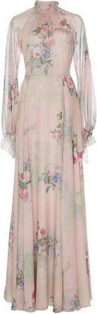 Floral Print Silk Charmeuse Gown