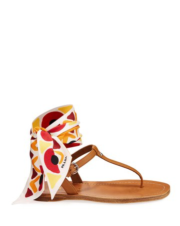 Prada Flat Saffiano Leather Thong Sandals With Scarf Tie | Neiman Marcus