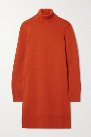 Cashmere Turtleneck Dress - Tomato red