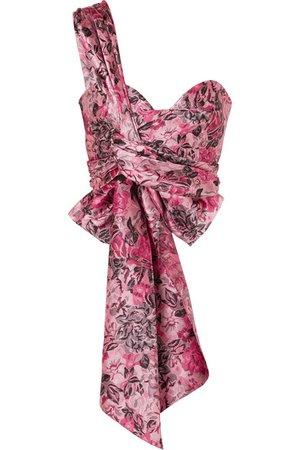 Erdem | Halle one-shoulder gathered floral-jacquard bra top | NET-A-PORTER.COM