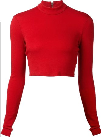 bright red turtleneck