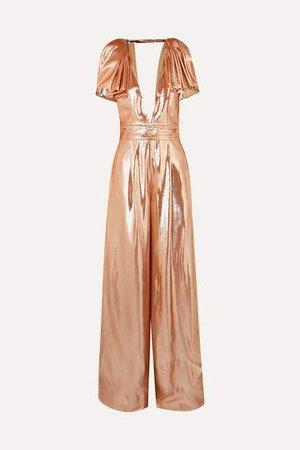 Mooreland Open-back Silk-blend Lame Jumpsuit - Copper