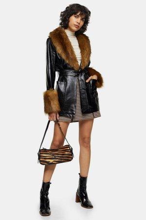 Black Faux Fur Trimmed PU Coat | Topshop