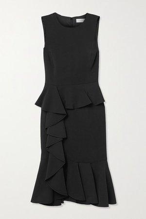 Ruffled Stretch-cady Dress - Black
