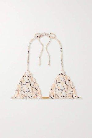 Spring Ripple Ruffled Floral-print Triangle Bikini Top - Beige