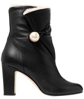 Bethanie 85 Shearling-lined Embellished Textured-leather Ankle Boots