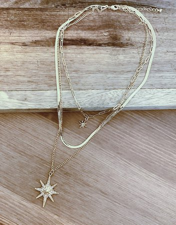 ASOS DESIGN multirow necklace with starburst pendants in gold tone | ASOS