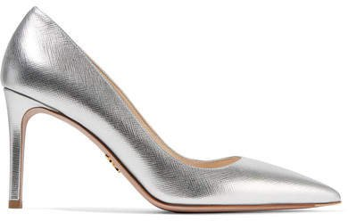 Metallic Textured-leather Pumps - Silver