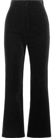 Cropped Cotton-velvet Flared Pants - Black