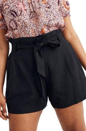 Linen Blend Paperbag Shorts