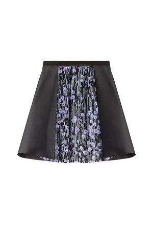 Satin Skirt with Glitter-Detailed Tulle Gr. FR 38