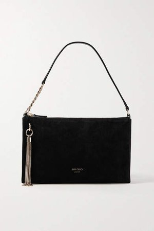 Callie Mini Tasseled Suede Shoulder Bag - Black
