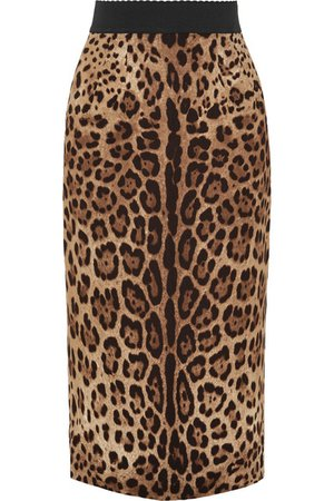Dolce & Gabbana   Leopard-print crepe midi skirt   NET-A-PORTER.COM
