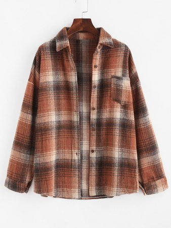[36% OFF] 2020 Checked Flannel Front Pocket Shacket In MULTI | ZAFUL