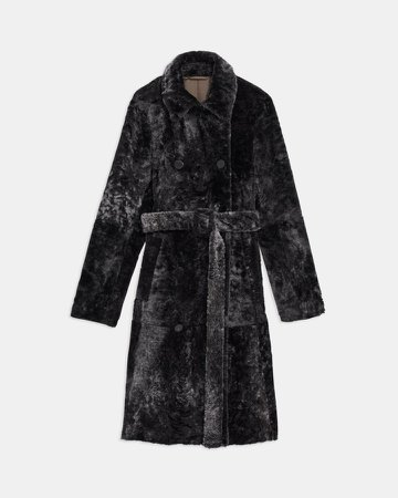 Double-Breasted Trench Coat in Shearling
