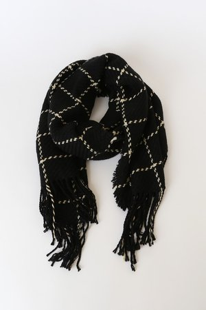 Cute Black and Ivory Scarf - Oversized Scarf - Knit Scarf - Lulus
