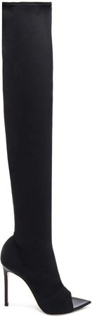 Gotham Cuissard Peep Toe Thigh High Boots in Black & Black | FWRD