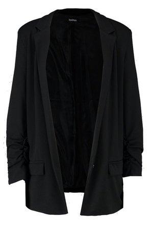 Oversized V Detail Ruche Sleeve Blazer | Boohoo