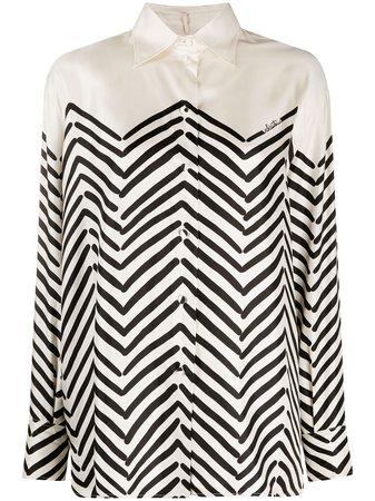 Valentino, chevron-print silk shirt